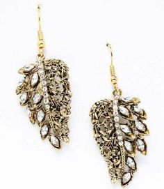 Gold Tone Leaf Crystal Dangling Earrings Mai Jewelry Shop & Hair Accessories. $19.00. Save 61%!