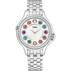 Fendi Crazy Carats Stainless Steel Diamond-Bezel Topaz Watch ($5,800) ❤ liked on Polyvore featuring jewelry, watches, jewelry watches watches, silver, twist jewelry, fendi jewelry, rainbow topaz jewelry, topaz jewelry and polish jewelry