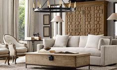These 20 amazing living rooms inspired by Restoration Hardware are the perfect mix of class and relaxation. Living Room Interior, Home Living Room, Living Room Designs, Living Room Furniture, Home Furniture, Living Room Decor, Wooden Furniture, Furniture Dolly, Unique Furniture