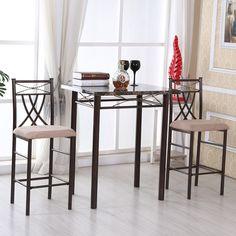 Marble-look Bronze 3-piece Dining Set