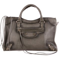 Pre-owned Balenciaga Motocross G12 Metallic Edge City Bag ($1,595) ❤ liked on Polyvore featuring bags, handbags, grey, grey handbags, handbags purses, grey leather handbag, gray leather purse and gray purse