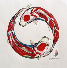 Koi keeping is quickly becoming a very popular hobby in America. Koi are beautiful, vibrant fish that can literally light your day. Koi come in many colors, Koi Fish Drawing, Fish Drawings, Art Drawings, Koi Art, Fish Art, Koi Kunst, Kreis Tattoo, Koi Painting, Japanese Painting