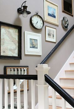 To give an over-the-stairs grouping a sense of movement, hang the frames so that they form an angle that follows the upward angle of the staircase itself.  🏠  --------------------  #staircase #stairs #steps #gallery #wall #tips #diy