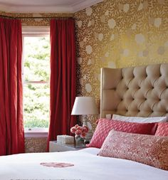 gold and red bedroom