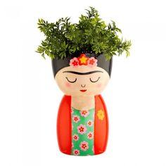 Frida Body Shaped Vase - Red Candy Flower Vases, Flower Pots, Painted Pots, Hand Painted, Mini Vase, Pot A Crayon, Face Planters, Hanging Planters, Sass & Belle