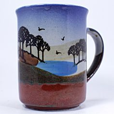 Oasis Coffee Mug Serengeti 12oz Cup Blue Red Trees Birds Desert k468 – Romeo et Juliet