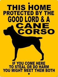 CANE CORSO ALUMINUM DOG SIGN GLCC1CY