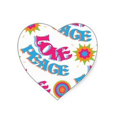 Funky Love and Peace Hippy Sixties Patterned stickers.  A funky Love and Peace Hippy sixties style pattern in bright colors of blue, pink, green and orange, a really fun design heart stickers