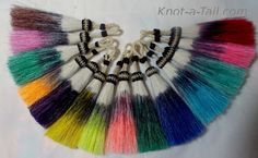 Horsehair tassels hand-dyed feather design perfect for horse hair necklaces or horse hair jewelry, horse hair key chains  Its a the passion. The one that captures your heart and never leaves. Hand-made by a life-long horse lovers heart. Taking the ordinary to EXTRAORDINARY. You will receive a one (1) horse hair tassel, so pick your colors.  Exceptional details   Love the tasteful richness of this simple but elegant design You will find these to be unbeatable, affordable and way too Adorable…