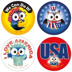 Patriotic Owl Labels Owl Labels, Sparklers Fireworks, Label Design, Owls, School Stuff, 4th Of July, Addiction, Classroom, Class Room