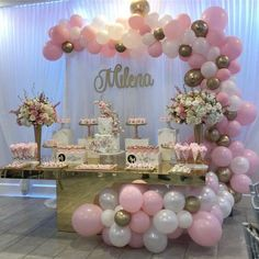 Welcome baby party for beautiful Milena at gorgeous cake, desserts and table set up by flowers by… Deco Baby Shower, Baby Girl Shower Themes, Girl Baby Shower Decorations, Baby Shower Princess, Baby Shower Parties, Gold Party Decorations, Birthday Party Decorations, Birthday Parties, Birthday Backdrop