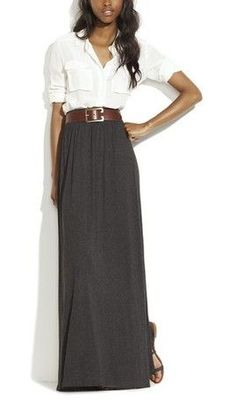 Loving this charcoal maxi skirt combo with the brown belt and white collared blouse.  Would be perfect for work.  Get the look with the MHOC charcoal maxi skirt only $17.99 on Amazon.
