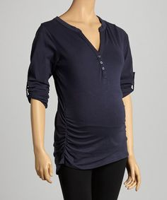 Look what I found on #zulily! Navy Side-Ruched Maternity Henley by Oh! Mamma #zulilyfinds