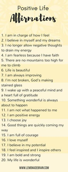 Positive life affirmations - Lemonade Brain