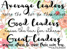 Average leaders raise the bar on themselves. Good leaders raise the bar for others. Great leaders inspire others to raise their own bar. Good Leadership Skills, School Leadership, Leadership Development, Good Leadership Quotes, Team Quotes, Servant Leadership, Effective Leadership, Educational Leadership, Success Quotes