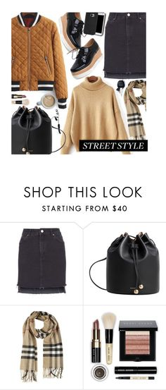 """""""Street Style"""" by beebeely-look ❤ liked on Polyvore featuring Topshop, MANGO, Burberry, Samsung, Bobbi Brown Cosmetics, StreetStyle, sammydress, streetwear and blackdenim"""
