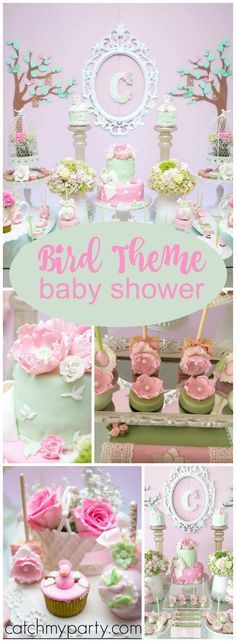 You need to see this lovely pink and mint green bird baby shower! See more party ideas at Catchmyparty.com!