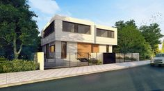 Rishon Le Zion Houses - rendering images of a double family house - Architect: Daniel Arev Semi Detached, Detached House, Bauhaus, No 6, Architect House, Mansions, House Styles, 3d Rendering, Home Decor