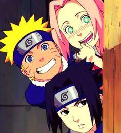 Young Team 7 peeking around a corner; Naruto, Sakura, Sasuke | Wow this feels like such a loooong time ago.
