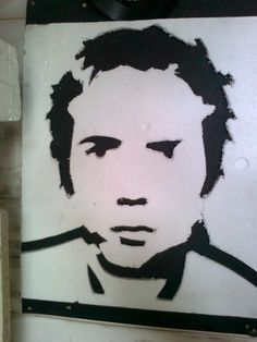 Johnny Rotten made from an old polystyrene tyle.