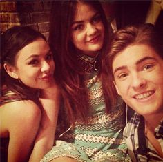 Janel Parrish (Mona), Lucy Hale (Aria) and Cody Christian (Mike) on the set of Pretty Little Liars. #PLL