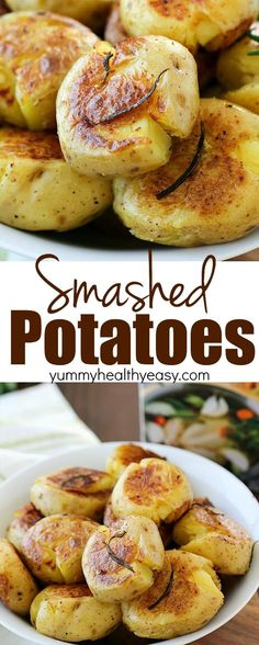 Smashed Potatoes (also known as Potatoes Fondantes) are seriously the best potatoes you will ever eat!! They're boiled in chicken stock and rosemary until tender and then smashed down and browned on each side. Crispy on the outside, tender and flavorful on the inside! Definitely a must-make side dish! AD