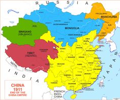 Map of China 1911 Map Of Great Britain, Geography Map, China Map, History Timeline, Alternate History, Historical Maps, World History, Flags, Knowledge