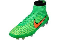 Green and Orange Nike Magista Obra Firm Ground Soccer Cleats | SoccerMaster.com
