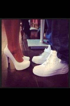 Young love c; #nike #heels #white
