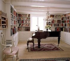 Library and music room. I think that'd look good for a dining room too, with all of the shelves.