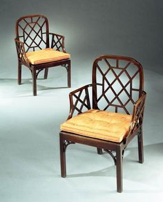 A PAIR OF GEORGE III MAHOGANY FRETWORK ARMCHAIRS - English Antique Furniture – Ronald P...