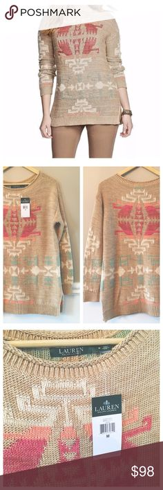 {Ralph Lauren} Oversized Aztec Sweater Pair this sweater with a pair of comfy tights and booties for a comfy chic vibe!  It is very heavy and warm...perfect for chilly days!  It's a tan accented with corals and teals in an Aztec pattern.  NWT!  79% Cotton, 20% Linen, 1% Other Fiber.  Not wool (aka. Not itchy!! ) Lauren Ralph Lauren Sweaters