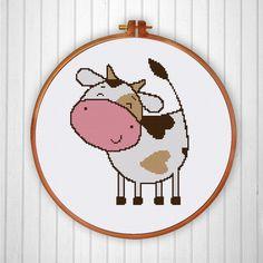 Happy Cow cross stitch pattern, funny cross stitch pattern, cute cross stitch…
