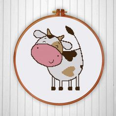 Happy Cow cross stitch pattern, funny cross stitch pattern, cute cross stitch…