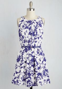 Great Wavelengths Dress in Indigo Blooms - Blue, White, Floral, Print, Casual, Sundress, A-line, Sleeveless, Spring, Woven, Good, Mid-length, Variation