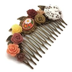 Brown Wedding Comb-Bridesmaid Comb-Cream Floral Comb-Flower Hair Comb-Bobby Pin-Hair Slides-Bridal Hair Clip-Cameo Hair Accessory-Peach comb Flowers In Hair, Flower Hair, Wedding Hair Accessories, Fashion Accessories, Bobby Pin Hairstyles, Etsy Handmade, Handmade Items, Hair Slide, Inspirational Gifts
