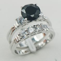 Black Onyx White Topaz Women 925 Sterling Silver Ring F838 Size 6 7 8 9 10 www.bernysjewels.com #bernysjewels #jewels #jewelry #nice #bags