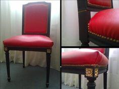 Silla estilo francés Luis XVI. En laca negra y tapizada en cuero sintético con tachas. Única pieza.