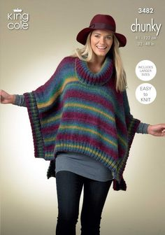 Woman's Square Poncho and Pointed Poncho Knitted in Riot Chunky - King Cole
