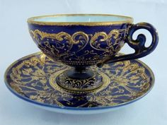 Old Noritake 1891-1910, cobalt with generous gilt flourishes