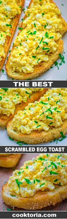 This Scrambled Egg Toast is so easy to make, and so incredibly tasty, that it is going to make your morning better. toast The Best Scrambled Egg Toast Egg Recipes, Brunch Recipes, Breakfast Recipes, Cooking Recipes, Healthy Recipes, Breakfast Ideas, Flour Recipes, Breakfast Dishes, Turkey Recipes