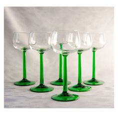 Vintage French Luminarc Green Stem Wine Glasses by thewrenskeep