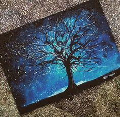 Art, oil pastel painting, blue night sky with black tree. Oil Pastel Drawings, Art Drawings, Oil Pastel Paintings, Kunst Portfolio, Soft Pastel Art, Examples Of Art, Chalk Pastels, Oil Pastels, Wow Art