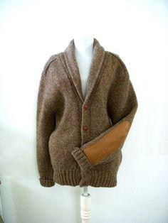Vintage Mens Brown Tweed Sweater Wool Elbow by OmAgainVintage, $35.00