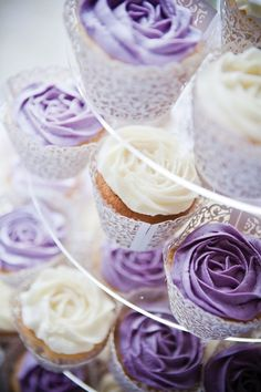 A gorgeous purple country garden wedding cupcakes