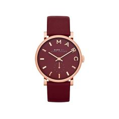 Marc by Marc Jacobs Baker Maroon Dial Moroon Leather Ladies Watch ($138) ❤ liked on Polyvore featuring jewelry, watches, bezel watches, analog wrist watch, marc by marc jacobs, leather wrist watch and crown jewelry