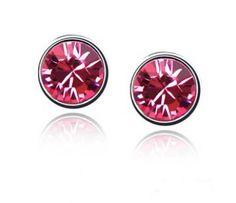 Boucles d'oreilles - cristal de swarovski - forme ronde (rouge-rose)    Poids : 3g    Taille : 0,7cm    Métal : plaqué or blanc    www.merveilledebijoux.fr