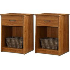Mainstays Nightstand/End Table, Set of 2 I think this would look better bc it would match my wardrobe.