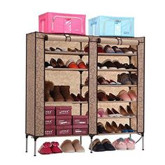 Aojia 2 Door Dustproof Portable Clothes Shoe Rack Organizer With Cover 10  Tier
