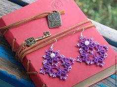 Купить Кружевные серьги - серьги ручной работы, фриволите, кружево, бисер, украшения ручной работы